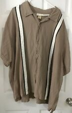 Men's Island Passport Brown striped Shirt Casual size 4XL Button Front