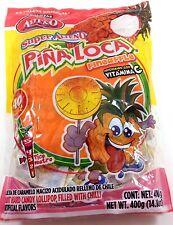 PIÑA LOCA Mexican Hot Pineapple Flavored Hard Candy Lollipops 40 Lollipops