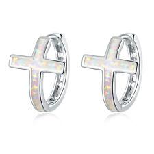 New Cross White Blue Fire Opal Silver Women Gems Jewelry Hoop Earrings OH4767-68