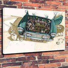 "Austin Mini Garage Printed Canvas Picture A1.30""x20""30mm Deep Man Cave Cooper"