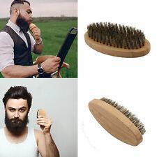 Boar Bristle Hair Mens Shaving Moustache Beard Brush Oval Wood Base Handheld