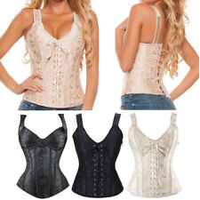 UK Plus Size Corset Bustiers Boned Overbust Brocade Fabric Straps Tops Lingerie