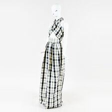 "Rosie Assoulin NWT Cream Blue Black Linen Blend ""Artichoke Hearts"" Jumpsuit SZ 4"