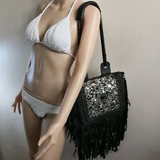 Black Embellished Leather Shoulder Bag with Fringes and Braided Strap