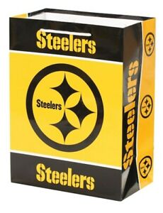 New! Pittsburgh Steelers NFL Football Holiday Gift Bag Medium Black and Yellow