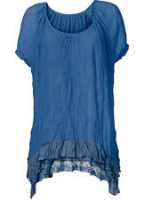Sheego @ Kaleidoscope Plus Size 26 Ocean Blue Lace Detail Tunic TOP Summer £44