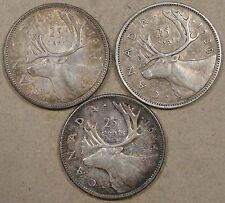 Canada 1937,38,+44 Twenty-Five Cents Better Circulated Grades as Pictured
