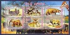 Lion Zebra Rhino Elephant Hippopotamus Wild Big Cat Animals MNH M/S of 6 stamps