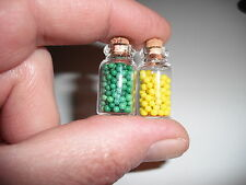 D00402 2 Miniature Storage Jars/Ooak,Doll Houses,Crafts,Barbie,Shad ow Boxes