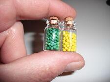D00402  2 Miniature Storage Jars/OOAK,Doll Houses,Crafts,Barbie,Shadow Boxes