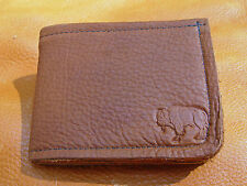 Light Brown BUFFALO LEATHER Bi Fold Wallet hand crafted disabled veteran 5001