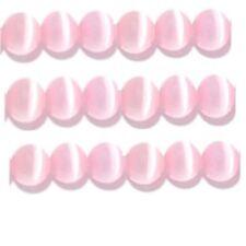 "Cats Eye Beads 6mm Pale Pink Strand Grade ""A"" Fiber optic 65 Beads per strand"