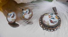 Schönes SET Anhänger + Ohrhänger Cabochon Glas - Schmetterlinge