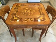 Vintage Italian Inlaid Wooden Game Table w/2 Chairs, Made in Italy