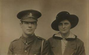 WW1  ROYAL FIELD ARTILLERY Soldier with Wife  Photo  Postcard