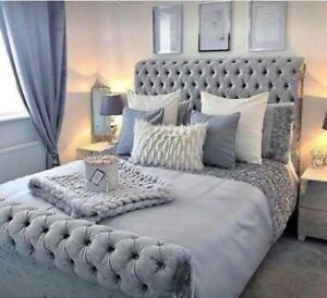 Upholstered Top Quality Crushed Velvet Bed Frame in Silver, Black, Cream, Grey