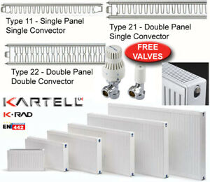 Compact Convector Panel Radiator Type 11 21 22 FREE Valves Various Sizes
