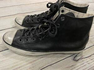 Mens Converse x John Varvatos Black Leather Distressed Sneakers Sz 11.5