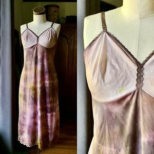 DYED PETALS Vintage Botanically Hand Dyed Tie Dyed Slip Dress S/M 36