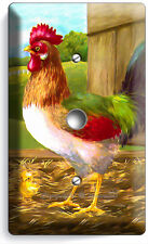 COUNTRY FARM ROOSTER RUSTIC BARN LIGHT DIMMER CABLE WALL PLATE COVER ROOM DECOR