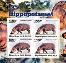 HIPPOPOTAMUS African Common Hippo Stamp Sheet #3 of 5 (2011 Burundi)