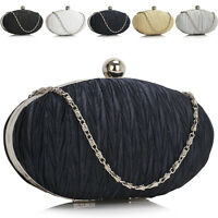 New Ladies Designer Oval Satin Womens Clutch Evening Bag Bridal Bridesmaid Prom