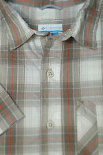 Columbia Men's Beige Stone Orange Check Omni-Wick Trail Outdoors Shirt L Large