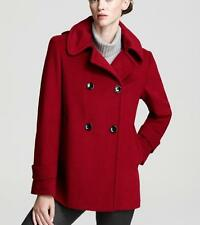 Calvin Klein Women's sz 10 Double Breasted Hooded Pea Coat Jacket Red Wool Blend