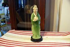 Beautiful Vintage Molded Epoxy &Jade Dust Figure Of Gentleman With Buddha