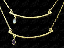 18K Gold on Sterling Silver Bar / Plate Necklace & Gemstone Topaz / Amethyst