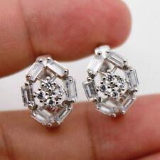 18K White Gold Filled - Zircon Hollow Oval Cross Rivets Wedding Lady Earrings