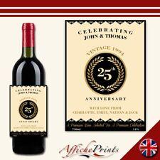 L178 Personalised Ornate Anniversary Wedding Custom Wine Bottle Label Great Gift