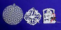 Vintage 3 White Metal Ornaments