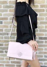 Tory Burch McGraw Leather Fold over Messenger Bag Crossbody Pink Quartz
