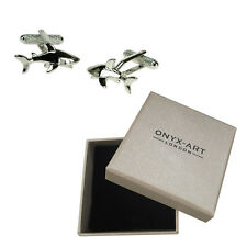 Mens Shark Great White Ocean Cufflinks & Gift Box By Onyx Art