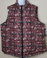 Architect Women's Full Zip Poly Quilted Vest - Red/Blk Multi - Size 2X - NWT