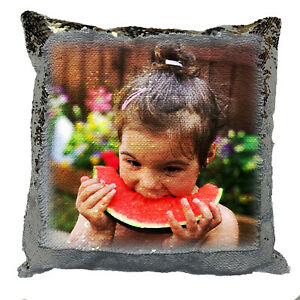 Your Personalised Photo Print on Sequin Cushion - Custom Printed Magic Pillow