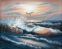SEAGULLS & WAVY SEASCAPE Oil Painting H. BOYD - CONTEMPORARY ART