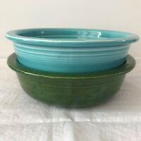 Set of 2 Fiesta Bowls HLC fiesta Made in USA.  Aqua and Dark Green.