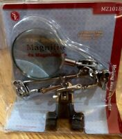 """SE MZ101B Helping Hand with Magnifying Glass - 4X - 2 1/2"""" Magnifier - Brand New"""