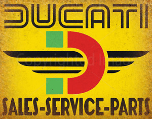 DUCATI SALES SERVICE GARAGE METAL TIN SIGN POSTER WALL PLAQUE