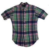 Mens S Polo Ralph Lauren Button Down Shirt Short Sleeve Plaid Colorful Neon Pink