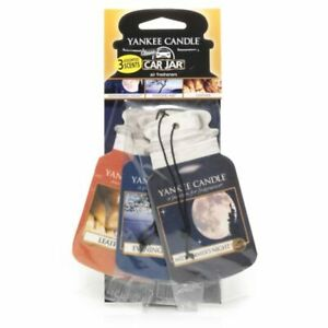 Yankee Candle Car Jar Air Freshener -Midsummers Night , Leather & Evening 3 Pack