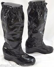 Coach Ceejay Black Rain Boots Wedge Heel KNEE patent leather shiny C BOOTS 9 M