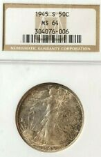 1945 S 50C Walking Liberty Silver Half Dollar - NGC MS64 - Very Cool Tone!