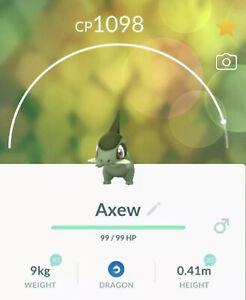 20 PACK!! AXEW Pokemon Trade Go! (evolves into Haxorus)