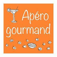 Lot de 20 serviettes en papier motif Apéro Gourmand sur fond Orange, 33 x 33 cm,