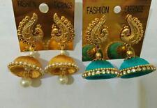 Indian ethnic Stone Silk Thread Handmade Jhumka Jhumki combo peacock 2 Earrings