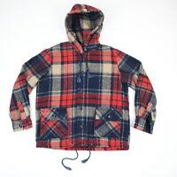 Vtg 70s Hooded Wool Shirt Jacket w/ Flap Pockets Grunge Surf Hippie Fade Plaid M