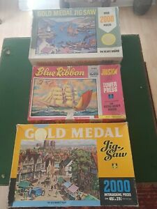 Vintage Jigsaws x 3 - Tower Press - Gold Medal Series